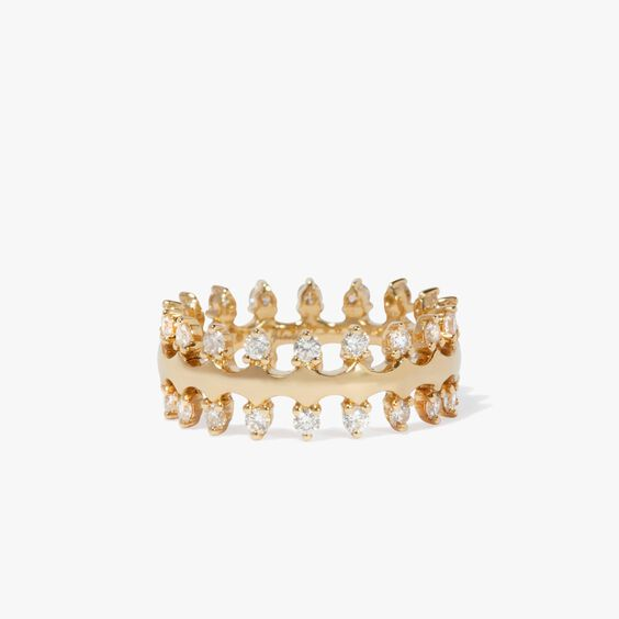 Crown 18ct Gold Double Diamond Ring | Annoushka jewelley