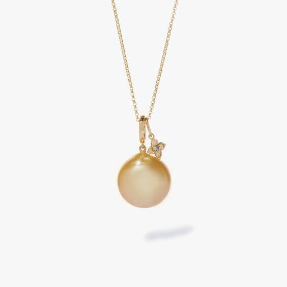 Gold South Sea Pearl & Aquamarine Pendant Necklace