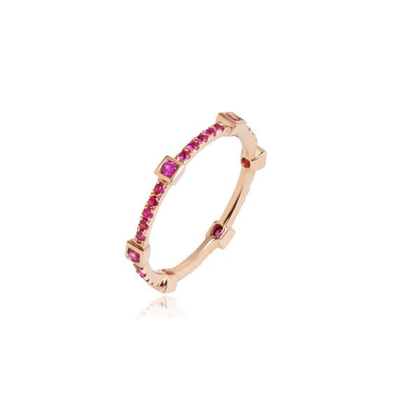 Pavilion 18ct Rose Gold Pink Sapphire Eternity Ring
