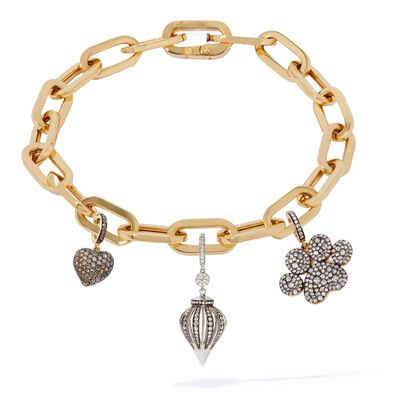 18ct Gold And Diamond Cable Chain Charm Bracelet