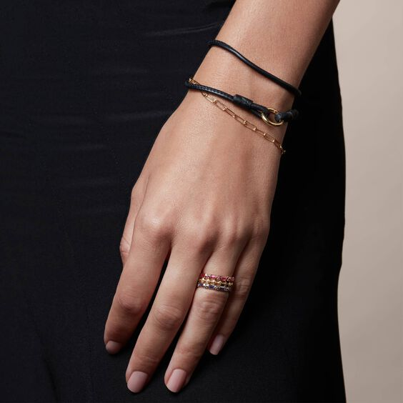 14ct Gold Lovelink 41cms Black Leather Bracelet | Annoushka jewelley