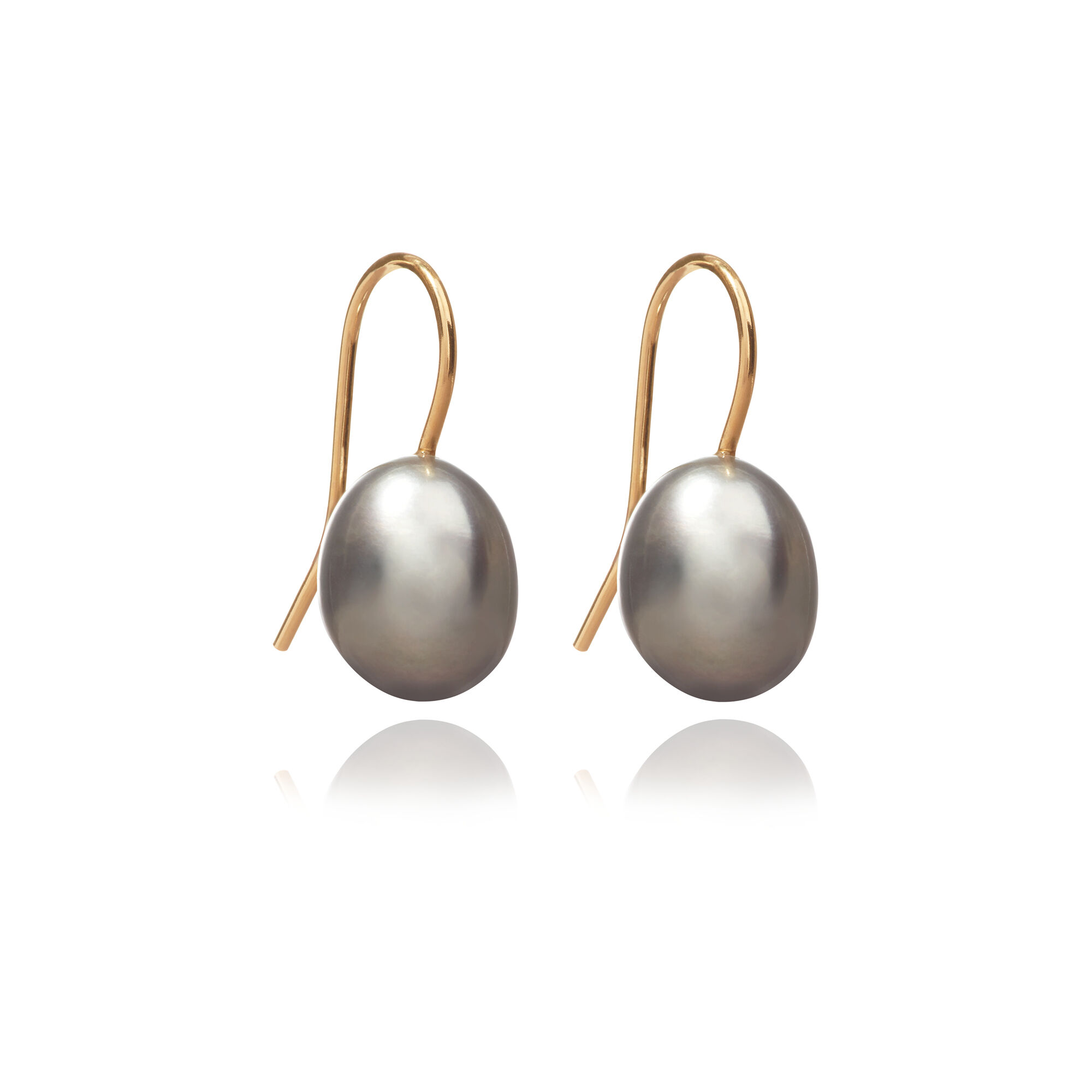 6871fc88c868a 18ct Gold Baroque Grey Pearl Hook Drop Earrings