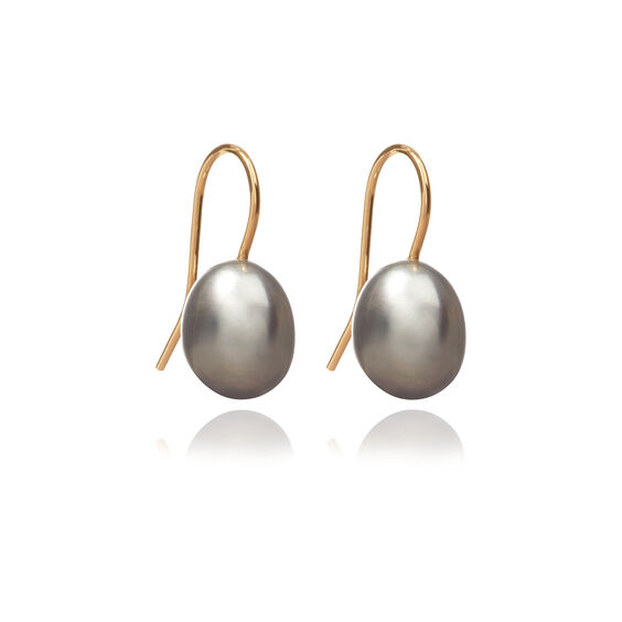 18ct Gold Baroque Grey Pearl Hook Drop Earrings