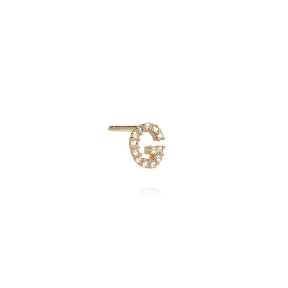 18ct Gold Diamond Initial G Single Stud Earring