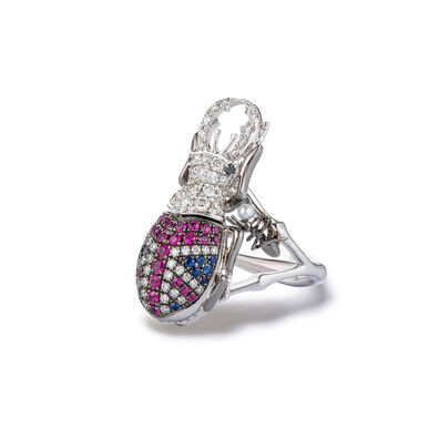 Mythology 18ct White Gold British Beetle Ring
