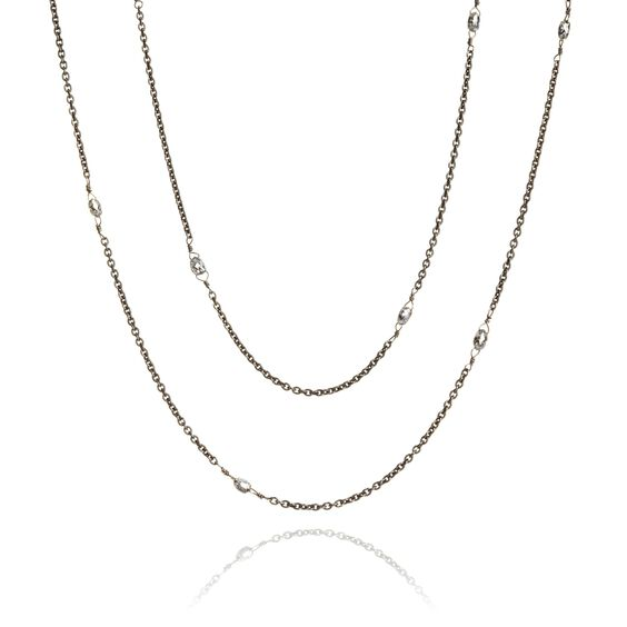 Eclipse 18ct White Gold Diamond Briolette Chain | Annoushka jewelley