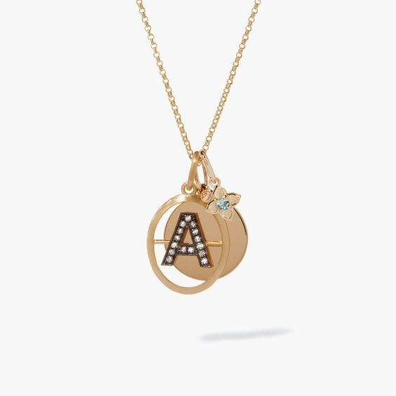 Gold Initial and Aquamarine Necklace