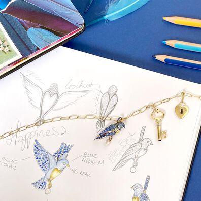 Mythology 18ct Gold Bluebird Locket Chain Necklace