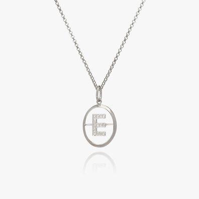 18ct White Gold Diamond Initial E Necklace