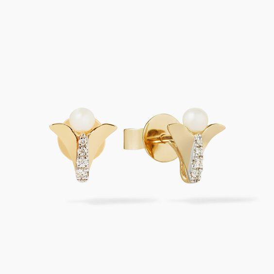 18ct Gold Pearl Diamond Lovebirds Earring Drops | Annoushka jewelley