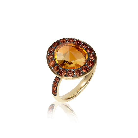 Dusty Diamonds 18ct Gold Citrine Ring