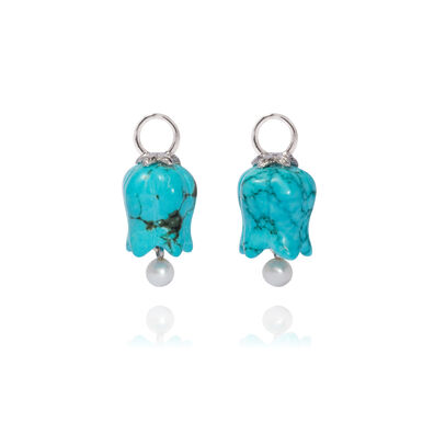18ct White Gold Turquoise Tulip Earring Drops
