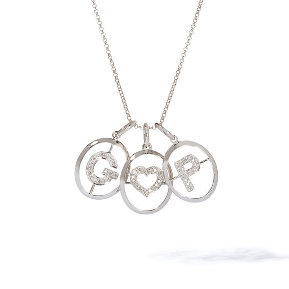 18ct White Gold Initial Love Necklace | Annoushka jewelley