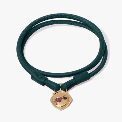 Lovelock 18ct Gold 41cms Green Leather Heart & Arrow Charm Bracelet