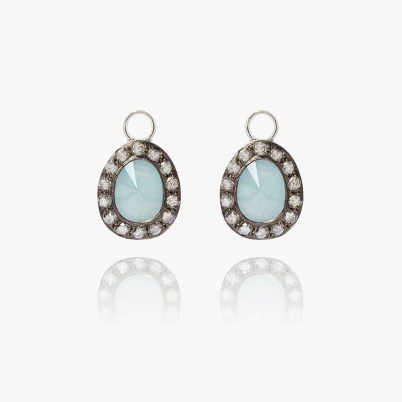 Dusty Diamonds 18ct White Gold Aquamarine Earring Drops | Annoushka jewelley