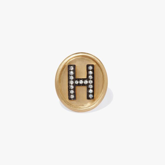 18ct Gold Diamond Initial H Face | Annoushka jewelley