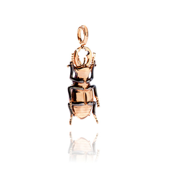 Mythology 18ct Rose Gold Blue Topaz Beetle Charm | Annoushka jewelley