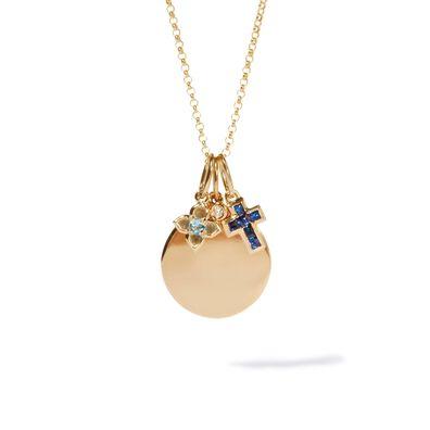 14ct Gold Diamond Disc Necklace