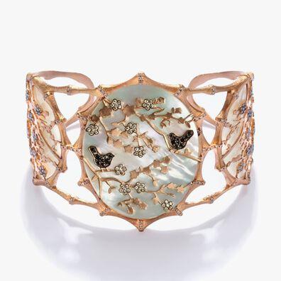 Dream Catcher 18ct Rose Gold Pearl Diamond Cuff
