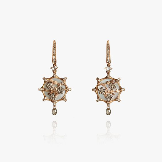 Dream Catcher 18ct Rose Gold Pearl Diamond Small Earrings | Annoushka jewelley