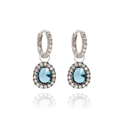 Dusty Diamonds 18ct White Gold Small Topaz Earrings