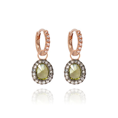 Dusty Diamonds 18ct Rose Gold Small Peridot Earrings