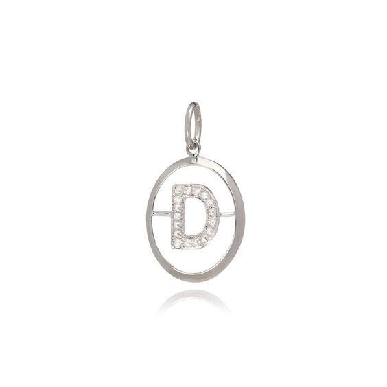 18ct White Gold Initial D Pendant | Annoushka jewelley