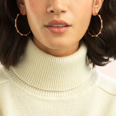 Bamboo 18ct Rose Gold Diamond Large Hoop Earrings