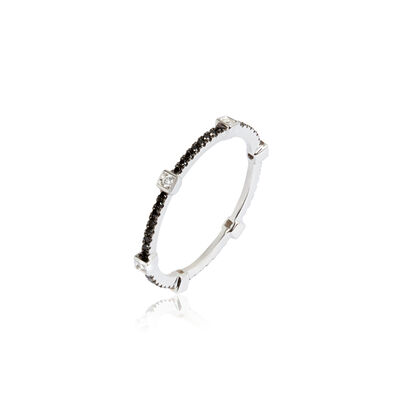 Pavilion 18ct White Gold Black Diamond Eternity Ring