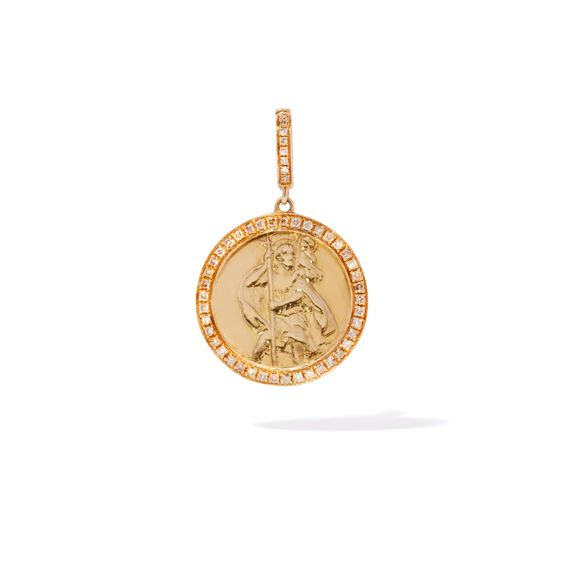 Mythology 18ct Gold Diamond St Christopher Charm | Annoushka jewelley