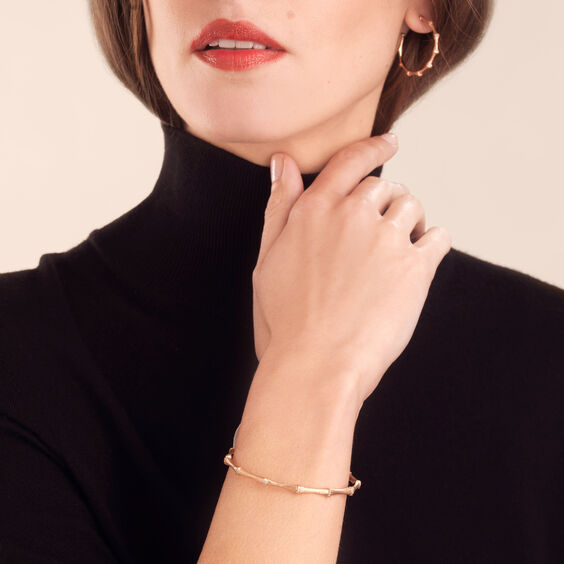 Bamboo 18ct Rose Gold Diamond Bangle | Annoushka jewelley