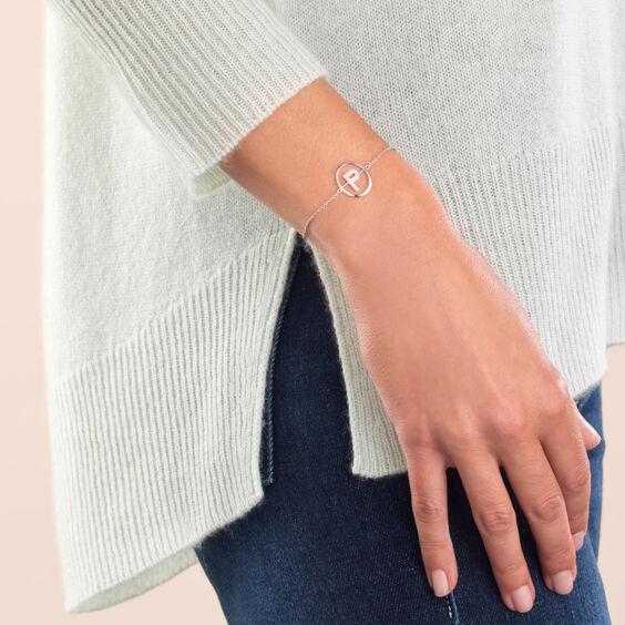 18ct White Gold Diamond Initial P Bracelet