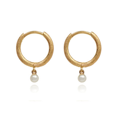 Hoopla 18ct Gold Pearl Hoop Earrings