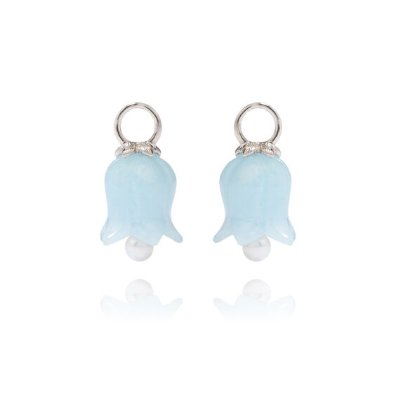 18ct White Gold Aquamarine Tulip Earring Drops