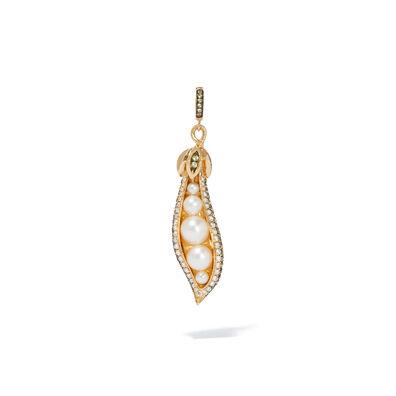 Mythology 18ct Gold Pearl Peridot Peapod Seed Charm