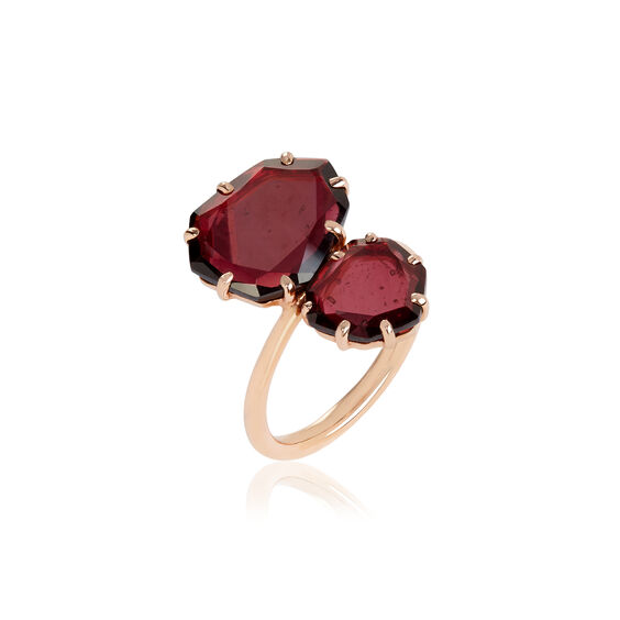 Shard 18ct Rose Gold Garnet Double Ring
