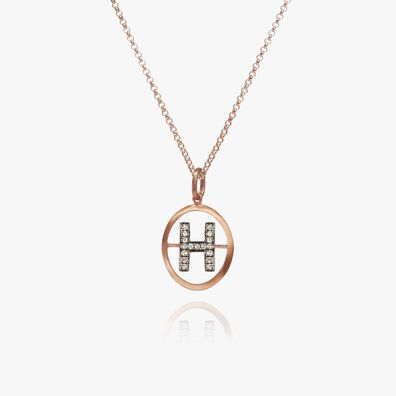 18ct Rose Gold Initial H Necklace