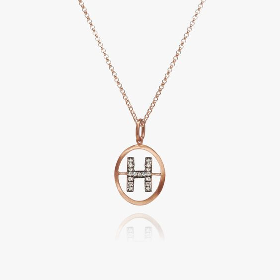 18ct Rose Gold Initial H Necklace | Annoushka jewelley