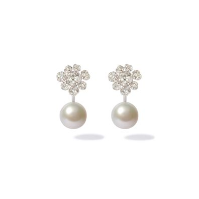 18ct White Gold Diamond Pearl Large Earrings