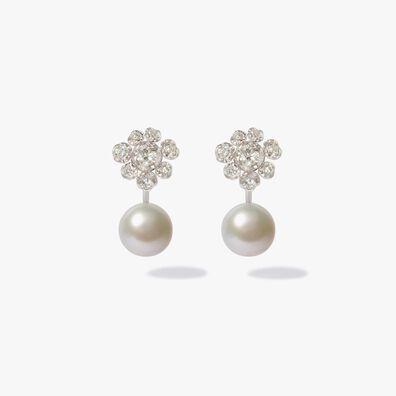 18ct White Gold Diamond Pearl Large Earrings