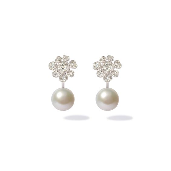 18ct White Gold Diamond Pearl Large Earrings | Annoushka jewelley