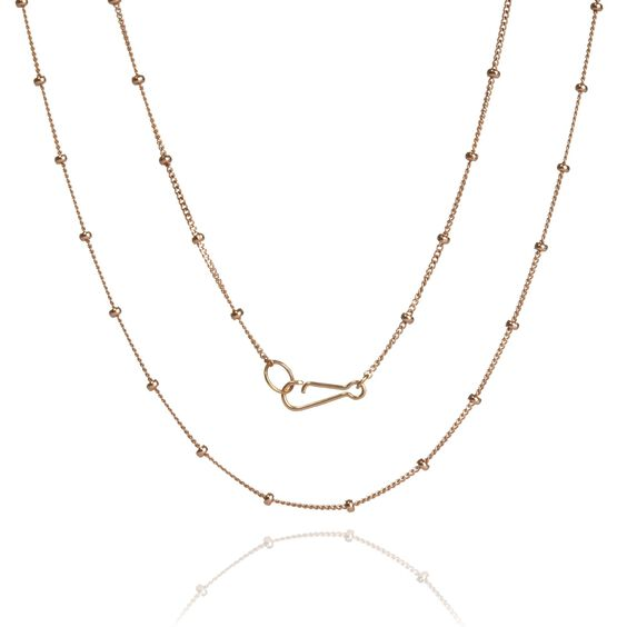 18ct Rose Gold Saturn Long Chain | Annoushka jewelley
