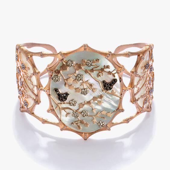 Dream Catcher 18ct Rose Gold Pearl Diamond Cuff | Annoushka jewelley