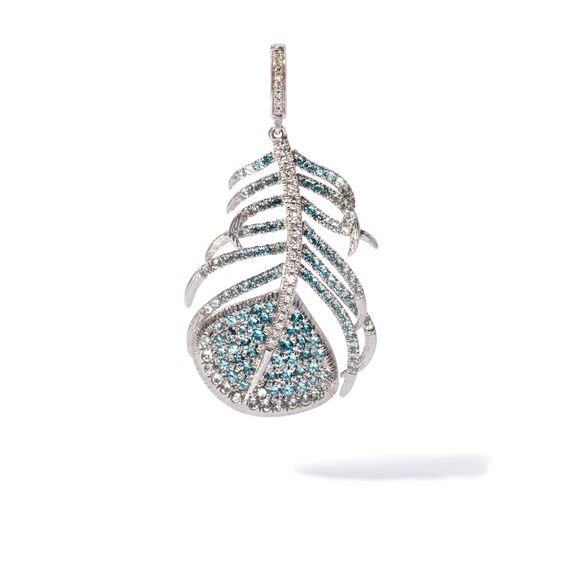 Mythology 18ct White Gold Topaz Peacock Feather Charm | Annoushka jewelley