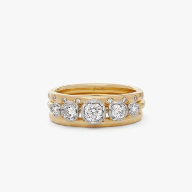 18ct Gold Five Stone and 2mm Wedding Band Ring Stack