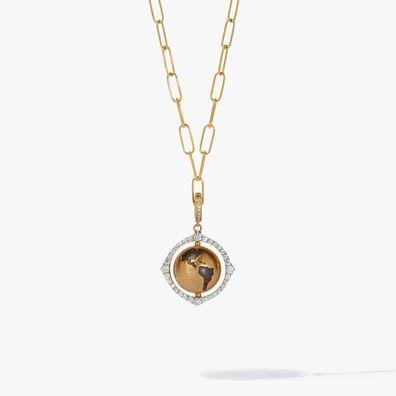 Mythology 18ct Gold Spinning Globe Mini Cable Necklace