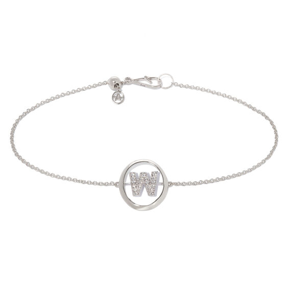 18ct White Gold Diamond Initial W Bracelet