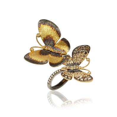 Butterflies 18ct Gold Diamond Duet Ring