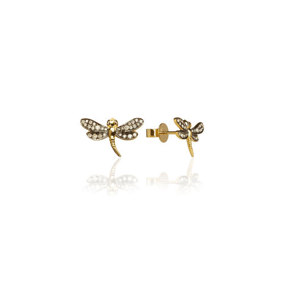 Love Diamonds 18ct Gold Diamond Dragonfly Studs | Annoushka jewelley