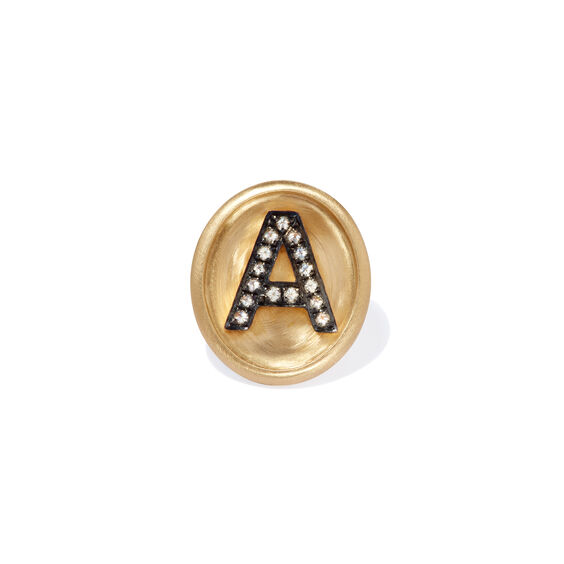18ct Gold Diamond Initial A Face | Annoushka jewelley
